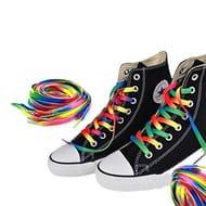 Aofocy 1 Pair Rainbow Flat Canvas Shoelace Sneaker Shoe Laces 110cm