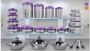 43-Piece Stainless Steel Containers with Serving Bowl & Spoon - 2 Colours