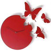 Unique Fly Away Butterfly Clock Red