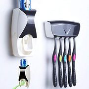 Auto Squeezing Toothpaste Dispenser Family Pack Anti-Dust Tooth Brush Holder