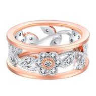 Women Double Color Floral Zircon Ring