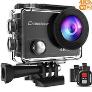 Crosstour Action Camera 4K 16MP Wifi Underwater 30M with Remote Control IP68