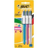 BIC 4 Colours Shine Ballpoint Pens Medium Point Assorted Metallic Barrels