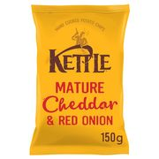 Kettle Chips Mature Cheddar and Red Onion Crisps 150 G