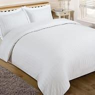 White Satin Stripe - King Size - Quilt Duvet Cover with Pillow Case Bedding Set