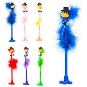 6 Feather Fluffy Emu Novelty Top Hat Bird Pens