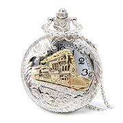 Circle Retro Hollow Steam Train Antique Style Quartz Pocket Watch Necklace Gift