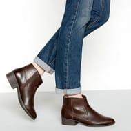 Mantaray - Brown 'Maggie' Western mid Block Heel Ankle Boot