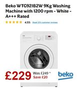 £20 off & FREE DELIVERY - Beko 9Kg 1200 Spin Washing Machine ***4.7 STARS***