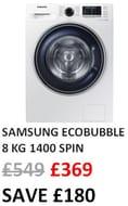 SAMSUNG Ecobubble WW80J5555FW 8 Kg 1400 Spin Washing Machine