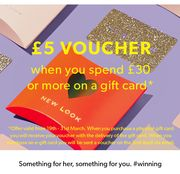 £5 Voucher When You Spend £30+ on a Gift Card