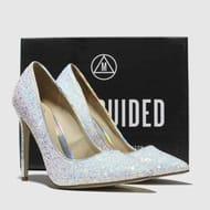White & Silver Full Glitter Court High Heels