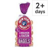 New York Bakery Cinnamon and Raisin Bagels 5 Pack