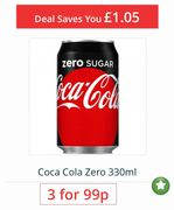 Coca Cola Zero 330ml Popular Product 3 for 99p