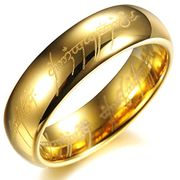 18K Gold Plated Tungsten Carbide Steel Men's Wedding Rings Finger Band