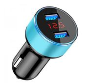 Dual USB Car Charger with LCD Display - 5 Colours