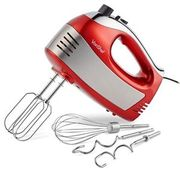 VonShef 400W Hand Food Mixer Electric Whisk Beater Dough Hook 5 Speed Red