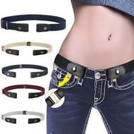 Unisex Stretch Elastic No Buckle Waist Belt Buckle-Free Belt Jean Pants