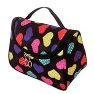 Travel Cosmetic Bag Heart Print Organizer Makeup Brush Toiletry Bags (Black)