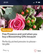 Ee Prosecco and Card When You Buy a Blossoming Gifts Bouquet