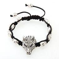 Wolf Head Tibet Silver Rhinestone Adjustable Bracelet
