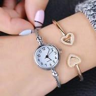 Women Watches Open End Bracelet Quartz Wrist Watch
