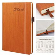 RESO Ruled/Lined Thick Notebook A5- Classic PU Leather Hardcover Journal