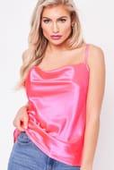 Monica Neon Pink Satin Top