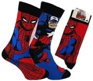Mens Superhero Socks (2 Pack Spiderman and Captain America)
