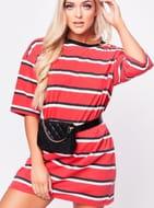 Ellie Red Stripe T-Shirt Dress
