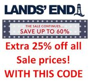 LANDS' END SALE - up to 60% off + plus EXTRA 25% off with CODE