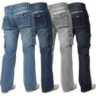 Details about KRUZE Mens Combat Jeans Casual Cargo Work Pants Denim Trousers