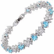 Tennis Bracelet [18cm/7inch] with Cubic Zirconia in 18K White Gold Plated