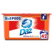 Daz 3in1 Pods Whites & Colours Washing Liquid Capsules 42 Washes 42 per Pack