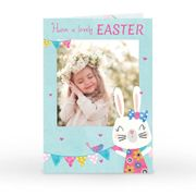 Photo Upload Easter Card - Blue & Pink Bunny & Bunting