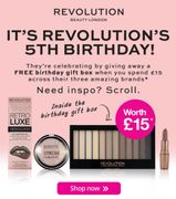 Spend £15 and Get a Free Birthday Gift Box on Revolution!