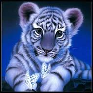 melysEU DIY Home Decor Frameless Tiger Pattern Stick Drill Cross Stitch Painting