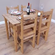 Corona Budget Dining Table and 4 Chairs Set Mexican Pine Only £83.94
