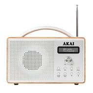 AKAI Portable Wooden DAB Radio with Alarm Clock - Oak