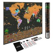 Wall Mounted World Scratch Map - Small or Large