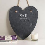 Personalised Hanging Heart Slate Chalkboard - Initials & Date