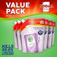Dettol Anti-Bacterial Liquid Handwash Soap Pouch Refill, Lavender X 6