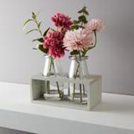 Morrisons Flowers in Milk Bottle with Wooden Frame