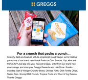 FREE SNACKS from GREGGS NEW SNACK RANGE (APP User Only)