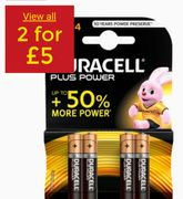 2 for £5 Duracell plus Power Alkaline AAA Batteries