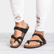 Voiks Womens Gladiator Ankle Buckle Strap Flat Slides, Summer Flip-Flops