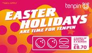 Tenpin Easter Holiday Bowling - £8.70/£11.20 for 2 Games and a Burger