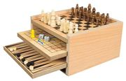 7 in 1 Wooden Game Set with Chess, Draughts, Backgammon + More