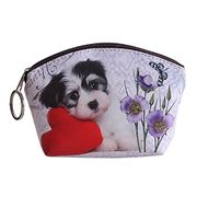 Dog Faux Leather Clutch Short Coin Purse