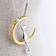 Gold Mood Fashion Fine 925 Silver Cats Moon Pendant Necklace